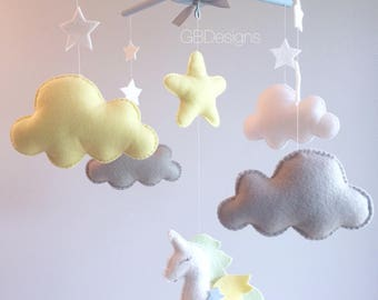Baby mobile - Baby Crib Mobile - Baby Mobile unicorn - unicorn Mobile - Neutral Mobile - You can Customize your colors :)