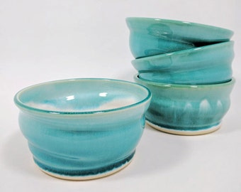Set of 4 Handmade Blue Ceramic Bowls, Soup Bowls, Cereal Bowls, Noodle Bowls, Water's Edge Collection