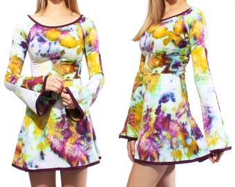 Bell Sleeve Dress in Orchid Bloom Hand Dye