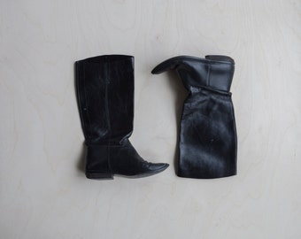 vintage nine west black leather boots size 6