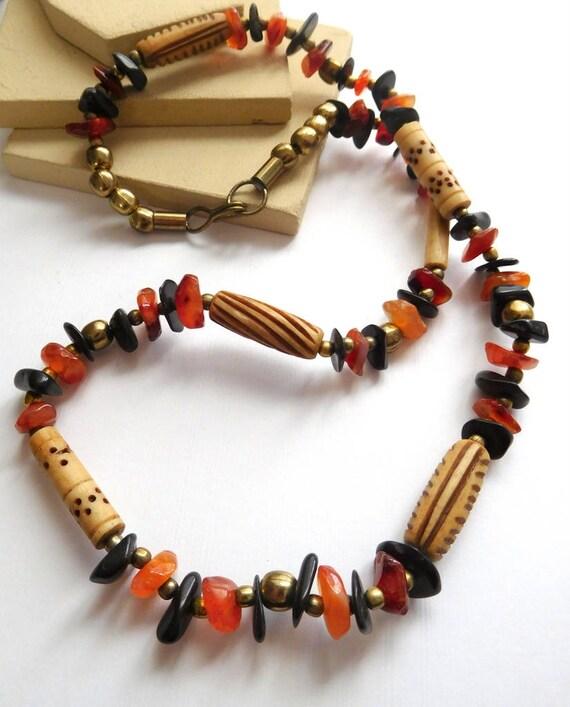 Vintage Tibetan Carved Yak Bone Carnelian Gemstone Gold Bead Tribal Necklace K37