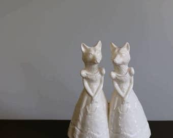 Fox Ladies ceramic wedding cake topper