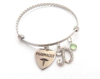 Pharmacist Gift, Pharmacist Bracelet, Gifts for Pharmacists, RN Gift, Monogram Initial, Coworker Gift, Medical School Graduation Gifts