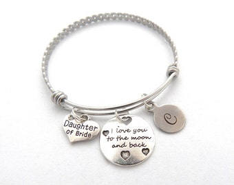 I Love to the Moon and back Bracelet, DAUGHTER of the BRIDE GIFT, Daughter of Groom Bracelet, Gifts for Daughters, Mother Daughter Gift