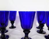 Wine Water Glass Holds 12fl.oz. Flared-Cobalt Blue Libbey  Spool Stem