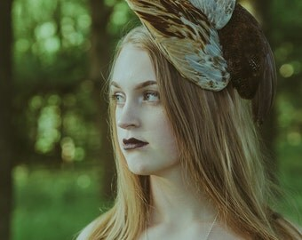 Sculptural Bird Wing Headpiece | Feather Headpiece | Races Hat | Races Fascinator | Taxidermy Headpiece | Pheasant Feather Hat