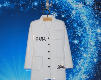 Personalized Doctor Physician Nurse Lab Coat Christmas Ornament