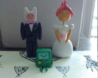 Reserved: Finn, Flame Princess, and BMO Wedding Cake Toppers