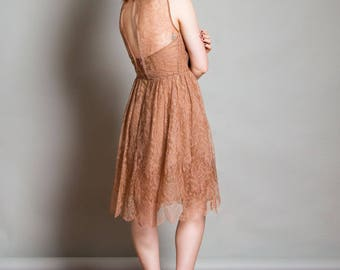 """One-of-A-Kind Upcycled, Recycled 1920s Vintage Chantilly Lace Blush, Knee Length Dress with Sweetheart Neck & Keyhole Back-- """"VALENTINA"""""""