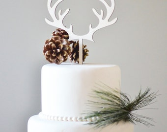 Antlers cake topper, wedding cake topper, the hunt is over