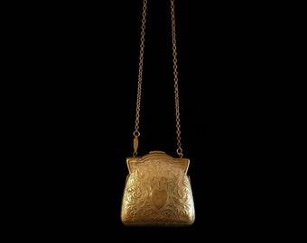 Antique Victorian Gold Miniature Heart Reliquary Purse Locket Necklace, Chatelaine Pendant, Love Token, Engagement, Valentine