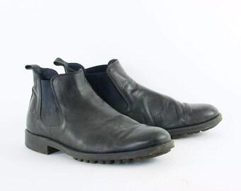 Vintage Black Real Leather Chelsea Boots Retro Indie Men's UK 8 EU 42 US 9