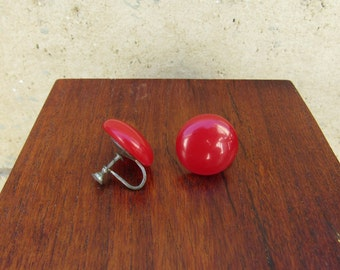Bakelite Earrings Clip On Red Authentic Bakelite Screwback 1930's Bakelite Cherry Red Earrings Art Deco Jewelry
