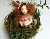RESERVED--Bonnie, a Nest Fairy, OOAK Hand Sculpted Fantasy Fairy Art Doll Collectable
