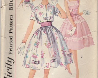 1950s Darling Summer Dress & Jacket Pattern Simplicity 2992 Size 14