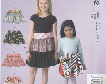 Girls' Tiered Skirt Pattern McCalls 7182 Sizes 3 4 5 6 Uncut