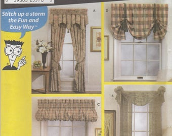 Easy Curtain and Valance Pattern Simplicity 7075 Uncut