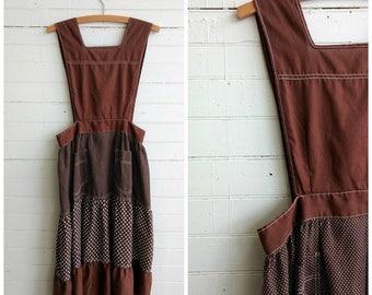 Vintage 1970s pinafore dress, vintage apron dress, polka dot dress, small