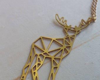 Geometric Gold Deer Necklace. Stag. Deer. Geek Nerd Book lover. Always. Brass Deer. Fandom. HP. Harry Potter Inspired. Fangirl. Book Fashion