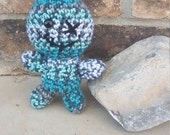 Crochet Amigurumi Voodoo Doll, Stuffed Voodoo Doll, Crochet Doll, Blue, Grey, White, Black, Wicked Voodoo, Creepy Voodoo Doll, Crochet Toy