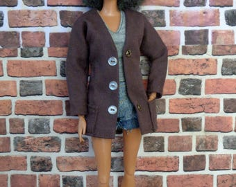 Brown Twill Sports Jacket for Barbie or similar fashion doll