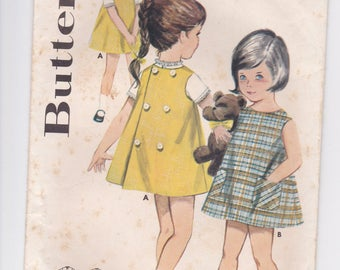 1960's Sewing Pattern - Butterick 3059 Toddlers Jumper and Blouse Size 3, Factory folded, unused