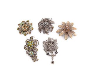 Vintage Brooch Lot of 5 Rhinestone Jewelry Victorian Brooches Floral Shaped Enameled Silver Tone Flower Shapes Victorian Brooches Repurpose