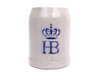 Vintage German HB Beer Stein West Germany Hofbräuhaus Bierkrug Salt Glaze Stoneware Mug Pottery Tankard Oktoberfest Man Cave Decor