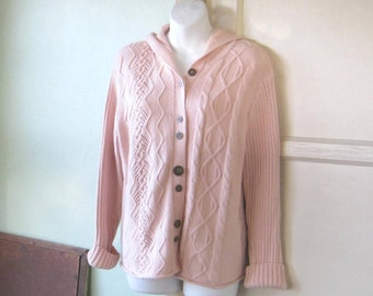 Aspirin Pink Cabled Cardigan with Hood~Long Pink Hoody Sweater; Women's Medium; Excellent Condition; Nice Girlfriend/Mom Gift Sweater