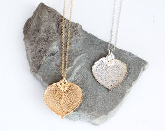 Aspen Leaf Necklace | silver leaf necklace, gold leaf necklace, 24k gold, leaf necklace, electroplated necklace, bridesmaid jewelry