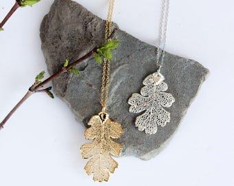 Oak Leaf Necklace | silver leaf necklace, gold leaf necklace, leaf necklace, oak leaf, nature jewelry, oak tree necklace