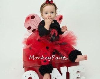 1st Birthday Girl Outfit - Ladybug Costume - Ladybug Tutu Outfit - Girls Ladybug Tutu and Accessories - Baby Girl Halloween Costume