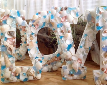 Beach Seashell Wooden Letters with Sea Glass Pearls ANY COLOR CHOICE and Silver Mist Accents