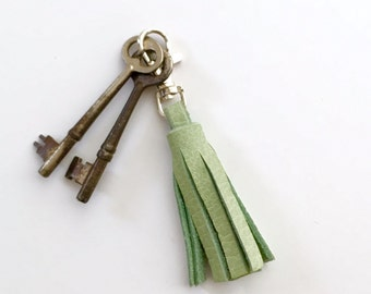Mint Green Leather Tassel Keychain Clasp