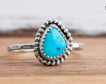 Morenci Turquoise Gemstone Ring in Sterling Silver - Size 8.25 - Light Aqua Blue Stone Ring with Beaded Border - Bohemian Style