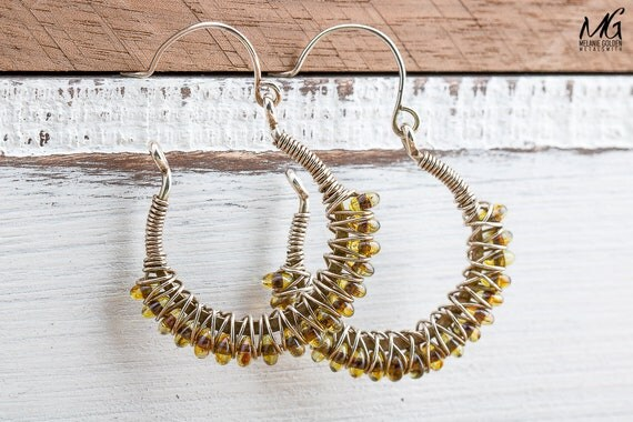 Beaded Wire Wrapped Sterling Silver Hoop Earrings with Olive Green Czech Glass Beads
