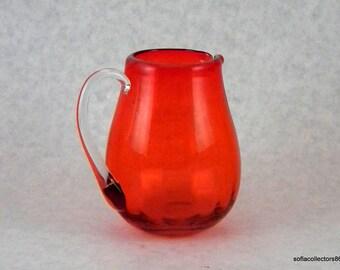 Pilgrim Glass 750 Tangerine Rib Optic Glass Mini Pitcher - Vintage 1960s 1970s Window Glass