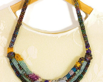 Knit Necklace, Ethnic Style Textile Necklace, Rope Necklace, Handmade, Women Fashion Necklace, Textile Bib Necklace, Gemstone, Gift For Her