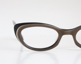 Vintage 50's Two Tone Black & Cocoa Cat Eyeglasses Sunglass Frames