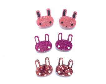 Glitter acrylic / perspex laser cut hand painted Easter bunny studs