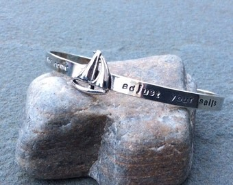 Sterling silver jewelry, Hand stamped sterling silver sailboat cuff bracelet
