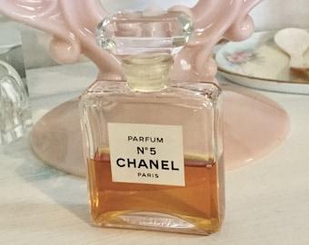 Vintage, Chanel No 5 Paris Parfum 28 ML Bottle, 1970s/80s 1/2 Full Large Sized