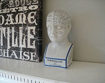 Phrenology Head L.N. Fowler Blue and White Porcelain Bust Edwardian Pseudo Science Victorian Decor Movie Prop