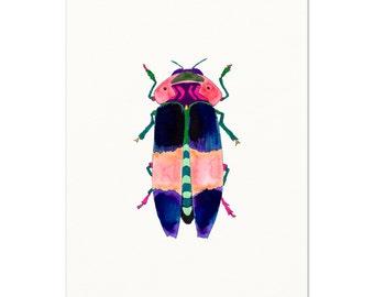 Watercolor Beetle.  Watercolor Beetle Art Print. Kids Room Decor.  Watercolor Bug.  Beetle Wall Art.  Colorful Insect Art.  Boys Room Art.