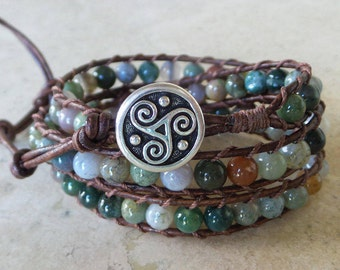 Fancy Jasper and Leather Wrap Bracelet