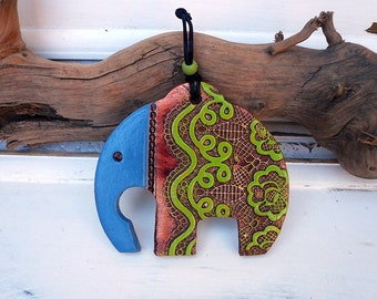 Handmade Ganesha Elephant Wall Hanging, A symbol of Removing Obstacles, Ceramic Elephant Home Decor, Good Luck Charm, Ready To Ship.