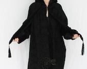 Incredible Edwardian to 1920s Cocoon Coat Black Textured Velvet Size MEDIUM/LARGE