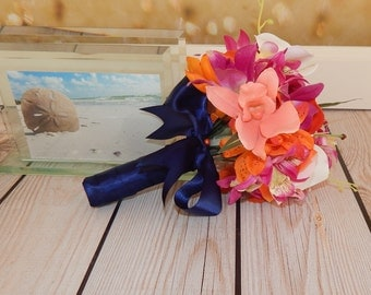 Beach Wedding Bouquet- Tropical Theme Wedding Bouquet, Orchid Bridal Bouquet – Small Bouquet- Made To Order- SOLD