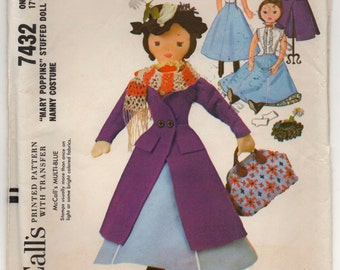 1960's McCall's Mary Poppins Stuffed Doll Pattern - UC/FF - No. 7432