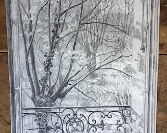 French drawing, the window. Maurice de Lambert 1873-1952